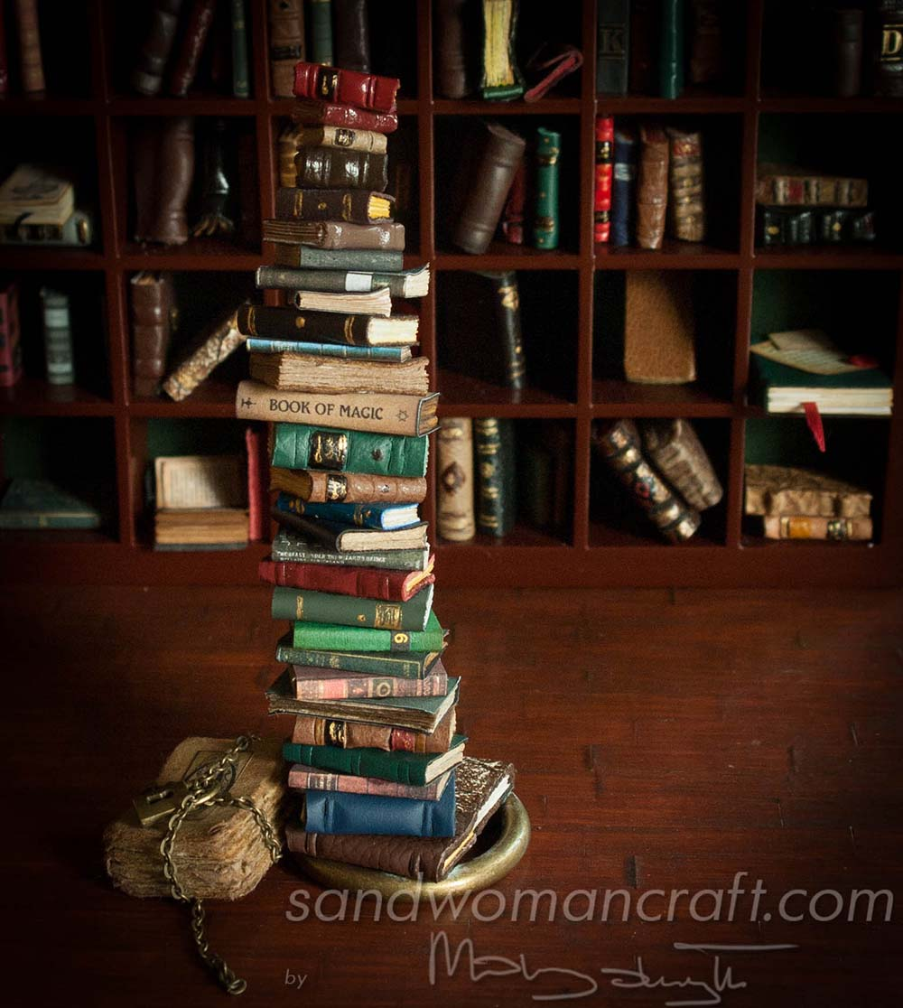 Miniature book stack 1:12 scale 1/12 scale