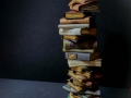 Miniature book stack with open bat book