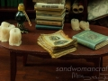 Miniature book and aged papers set. Birds and their nests