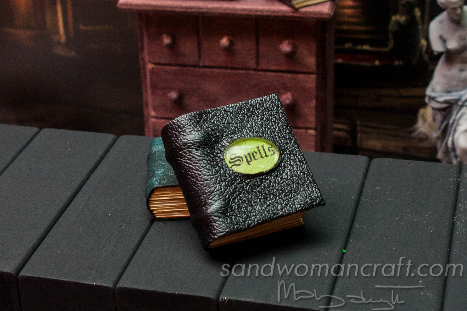 Miniature leather spell book