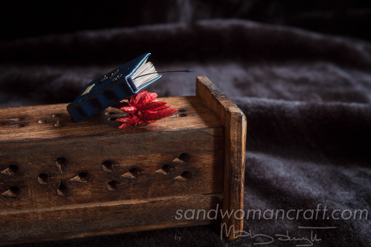 Blue leather miniature steampunk book