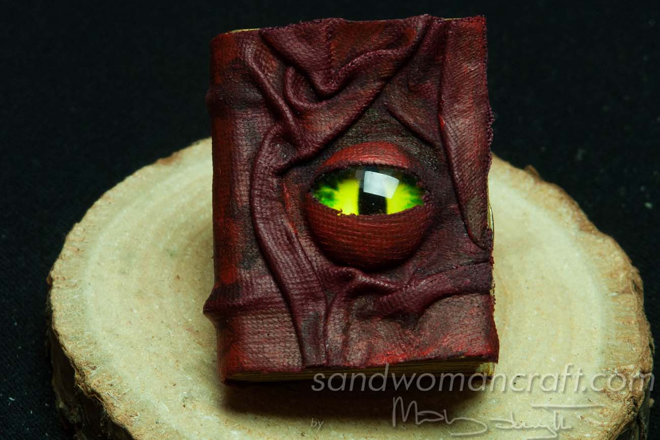 Miniature book with dragon's glass eye 1:6 scale