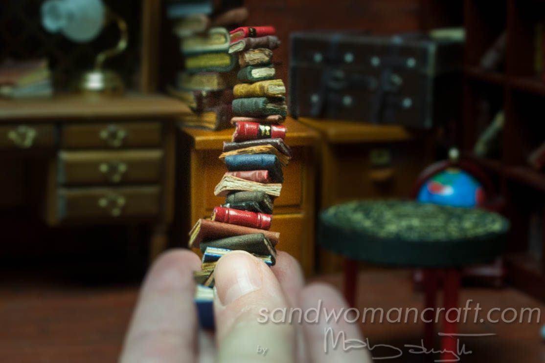 Miniature leather book stack 1:24 scale