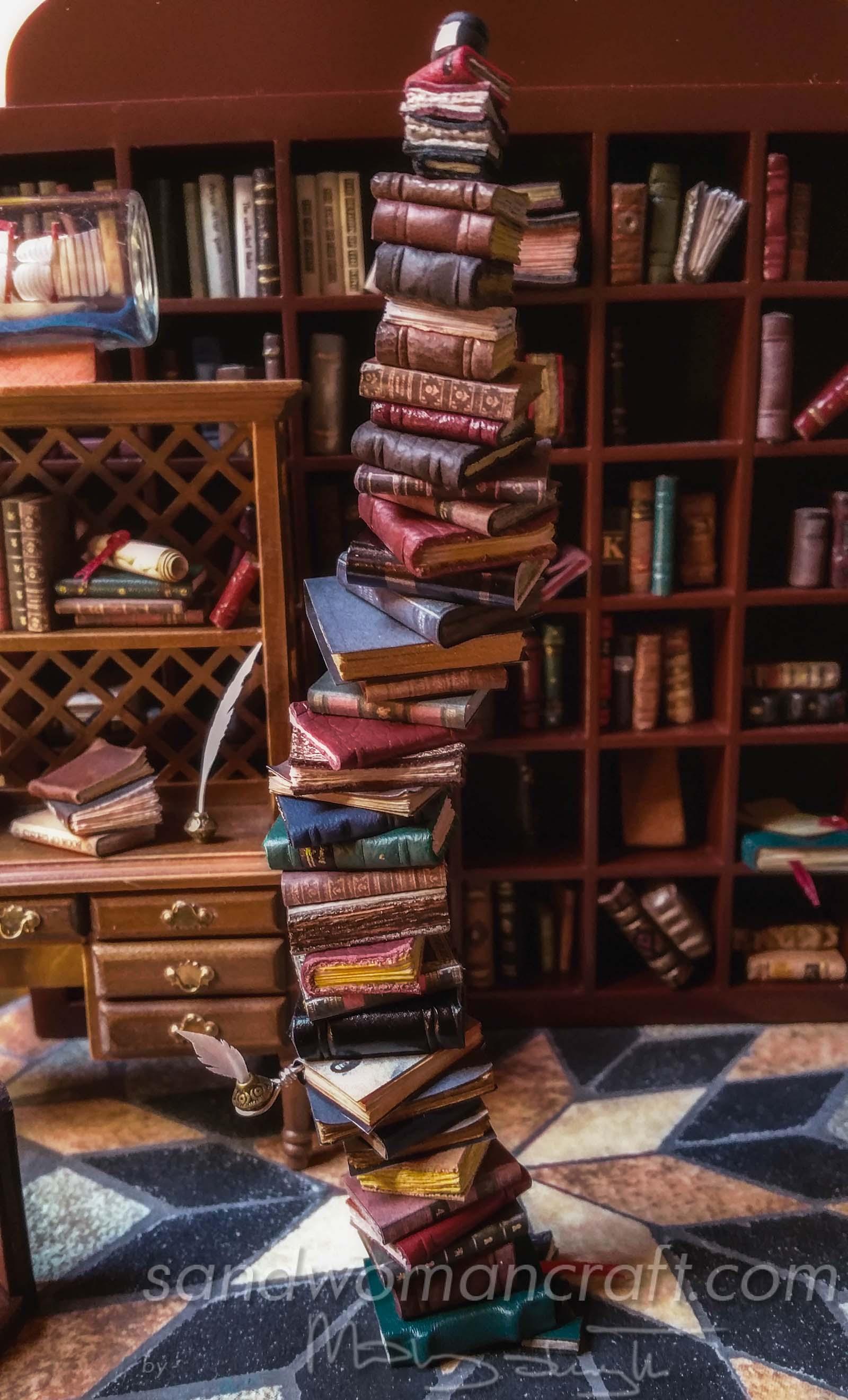 Miniature book stack