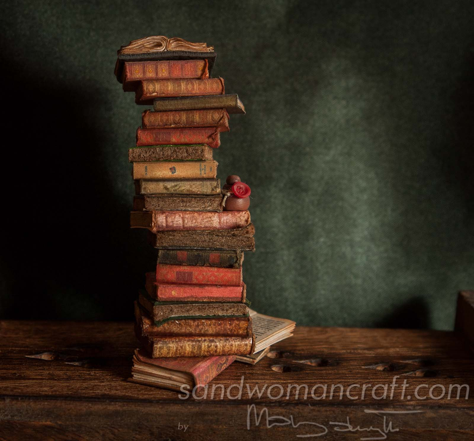 Pile/ stack/ set of 22 miniature books + tiny potion in 1:12 scale. Library, wizard, witch, magic setting.
