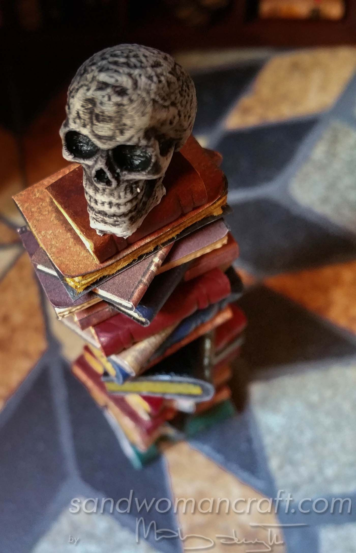 Miniature book stack with Celtic Skull