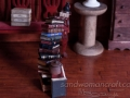 Pile/ stack/ set of 20 miniature leather books + tiny potions in 1:12 scale. Library, wizard, witch, magic setting.