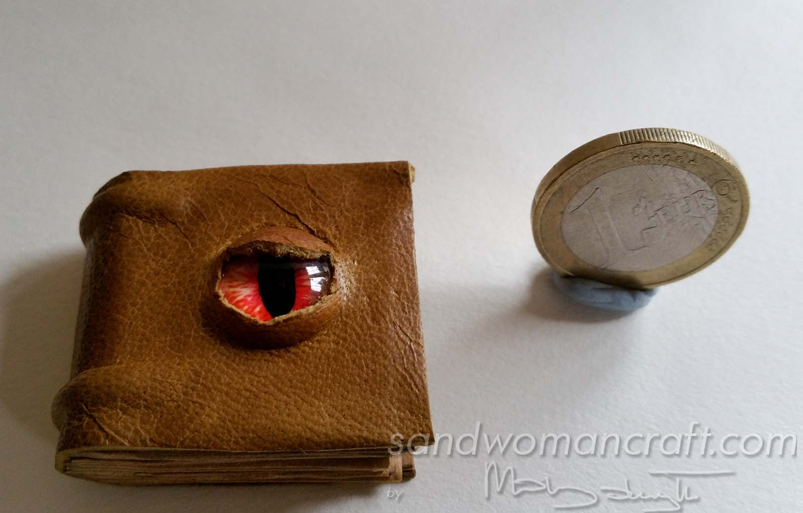 Miniature leather book with glass Dragon's Eye