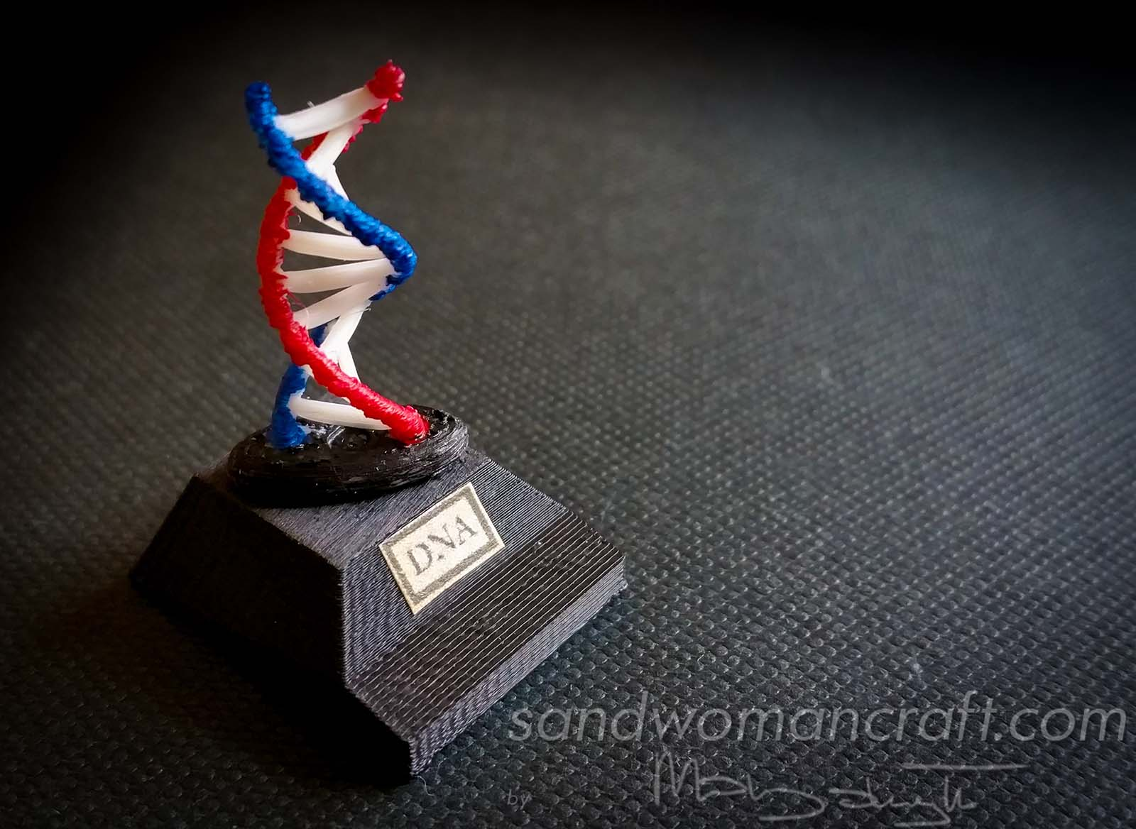 Miniature DNA model and sheets of paper on that subject