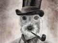 Anthropomorphic fantasy portrait of terrier Uwe