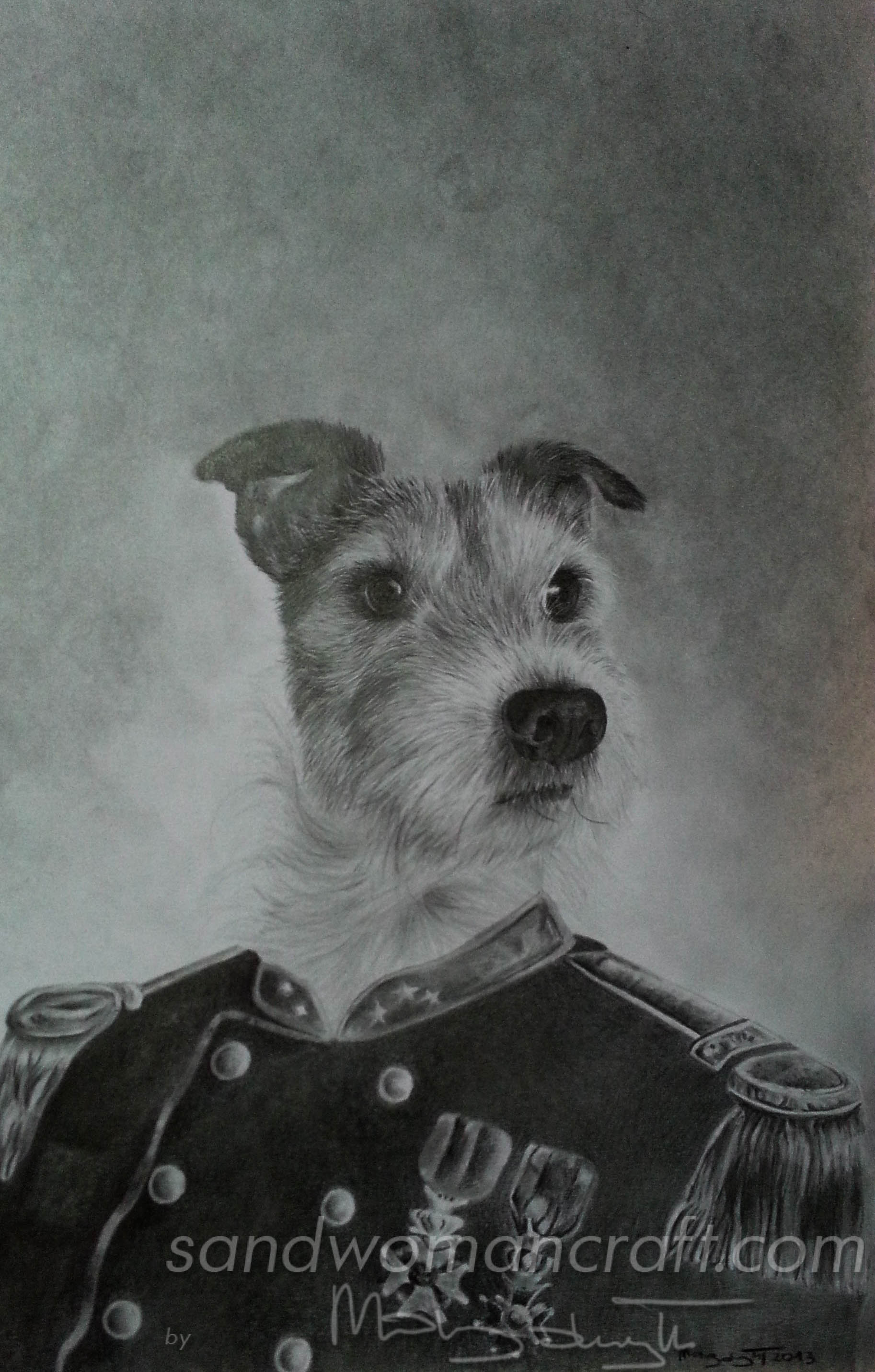 Anthropomorphic portrait of terrier Uwe