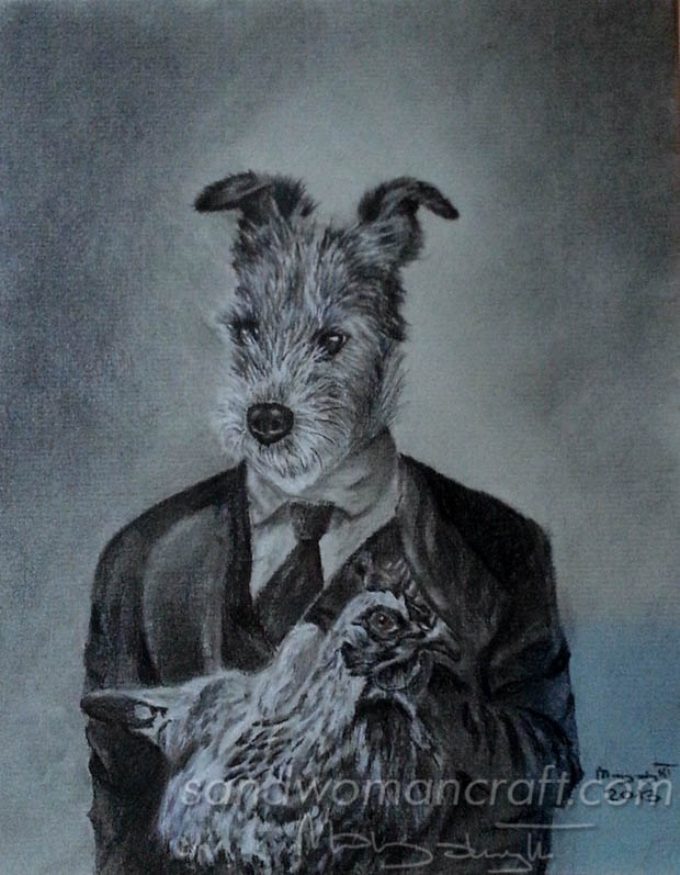Anthropomorphic portrait of terrier Uwe with chicken
