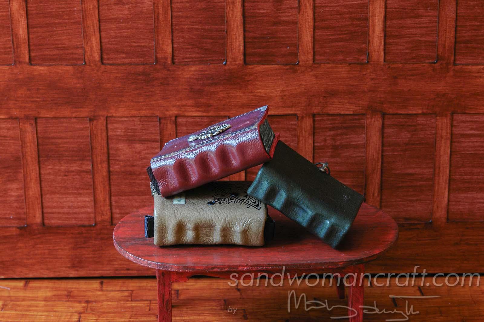 Miniature leather books