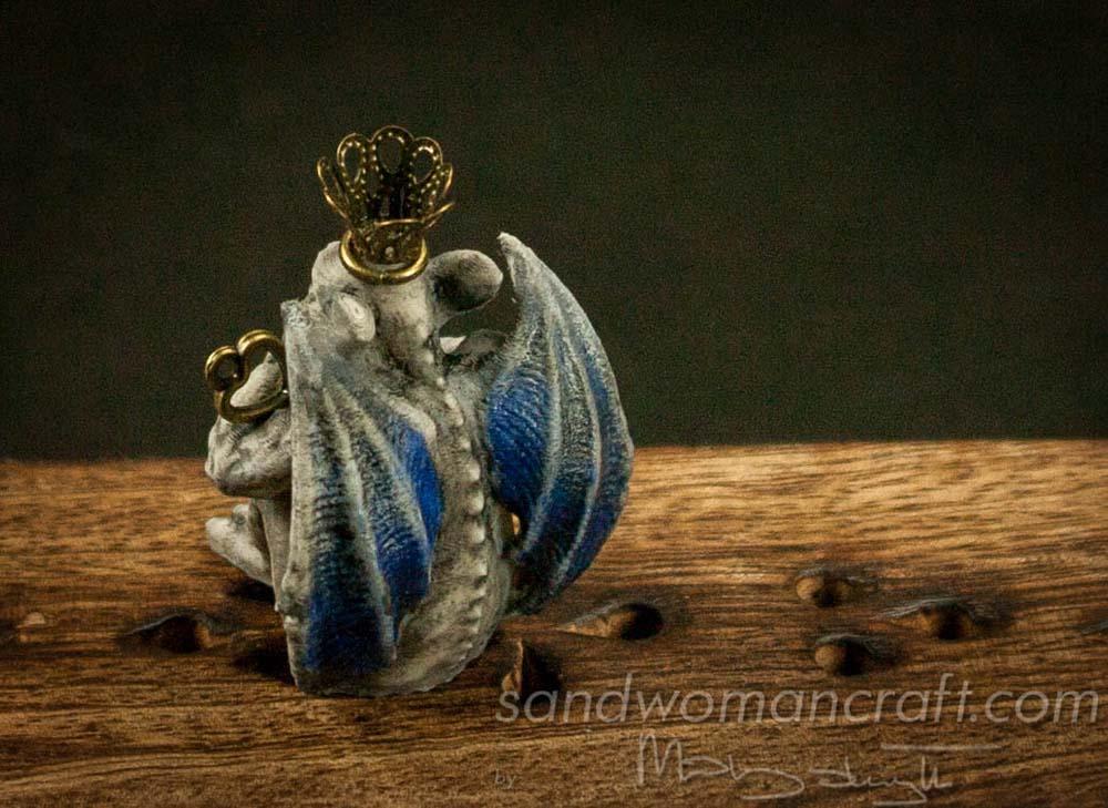 Miniature Gargoyle figurine with blue wings