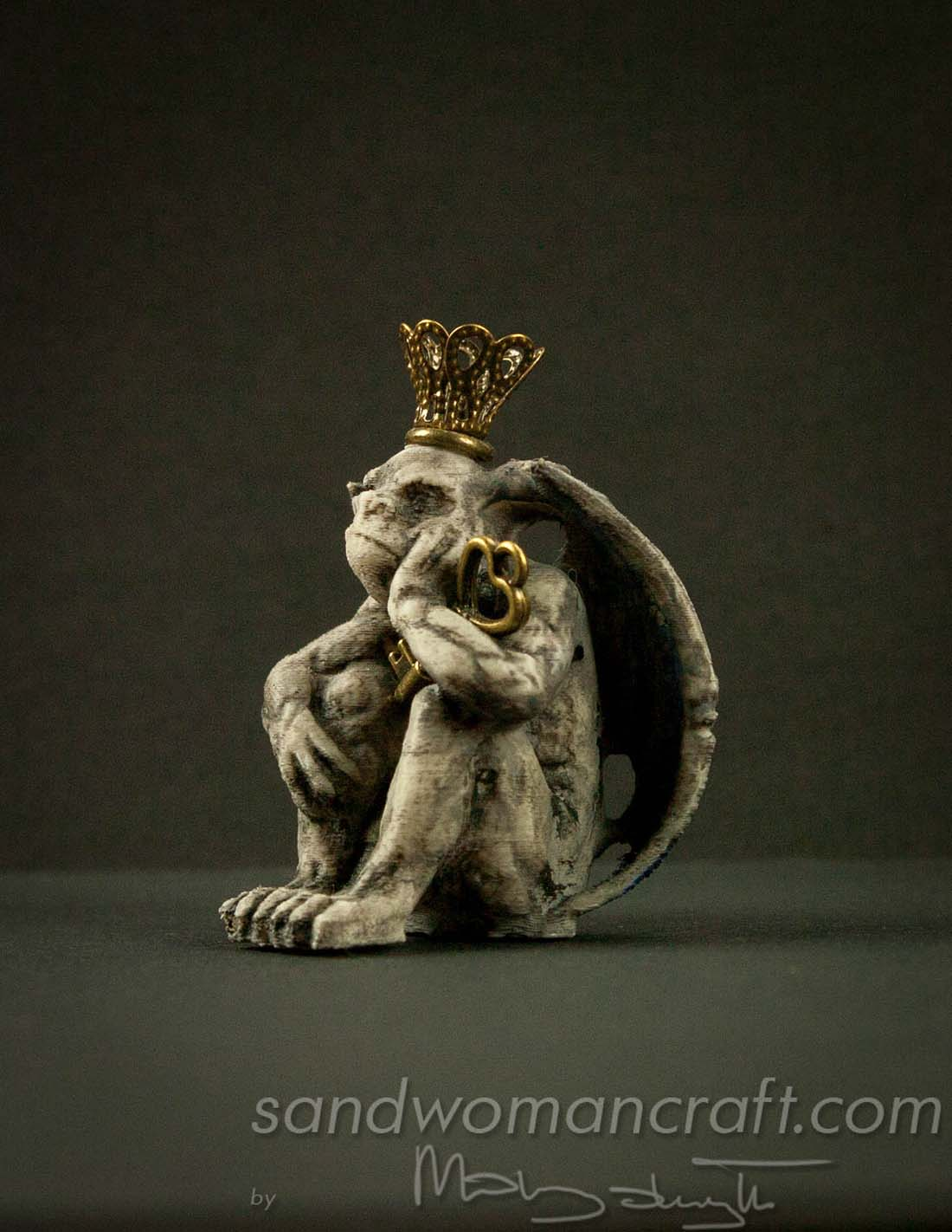 Miniature Gargoyle figurine with blue wings