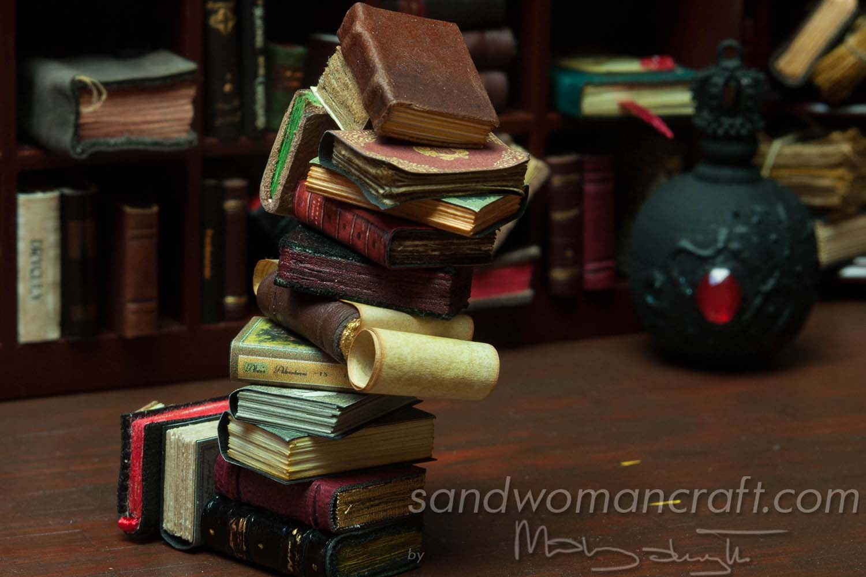 Miniature book stack in 1:12 scale