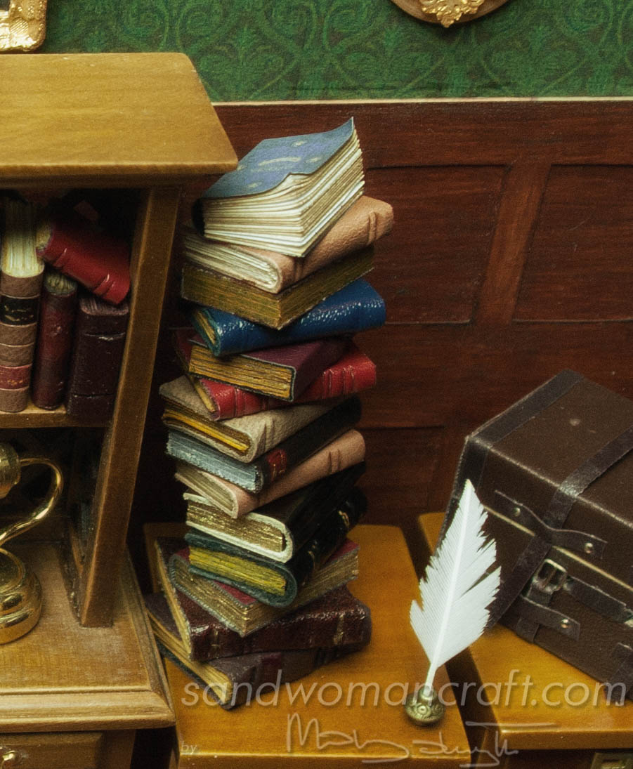 Miniature leather book stack