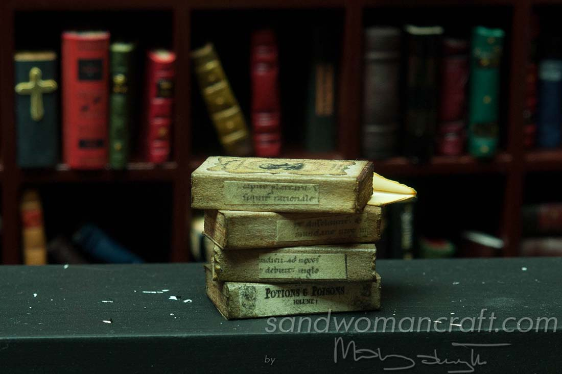 Miniature book stack 1:12 scale