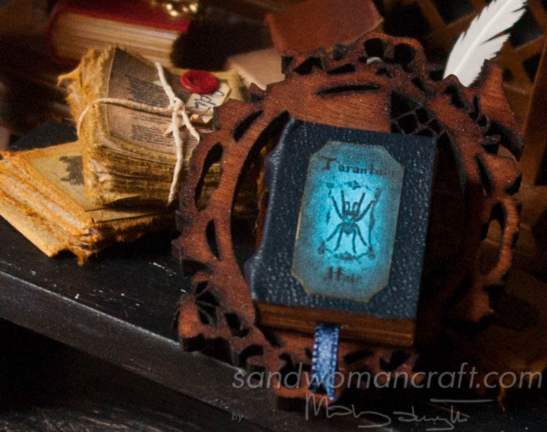 Miniature leather book with Tarantula