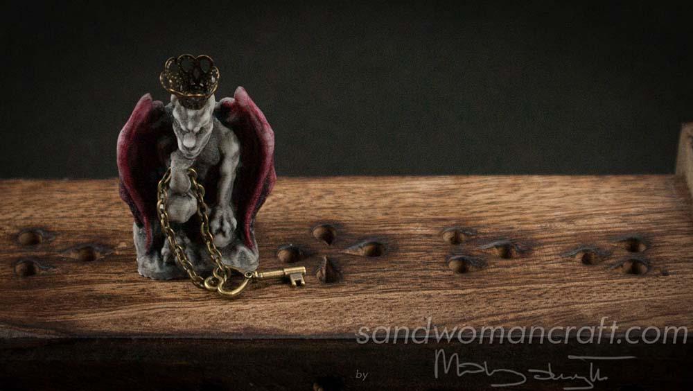 Miniature Gargoyle figurine with red wings