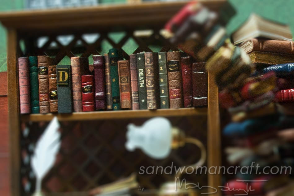 Miniature leather book set in 1:12 scale