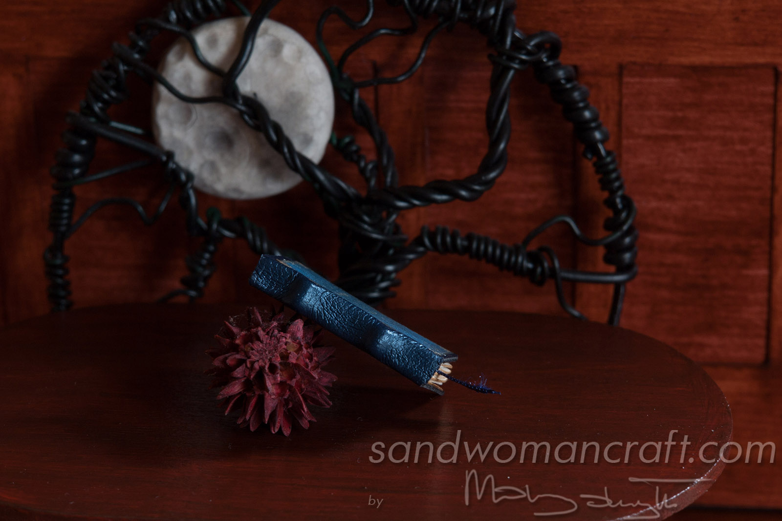 """Moonstone"" miniature leather book"