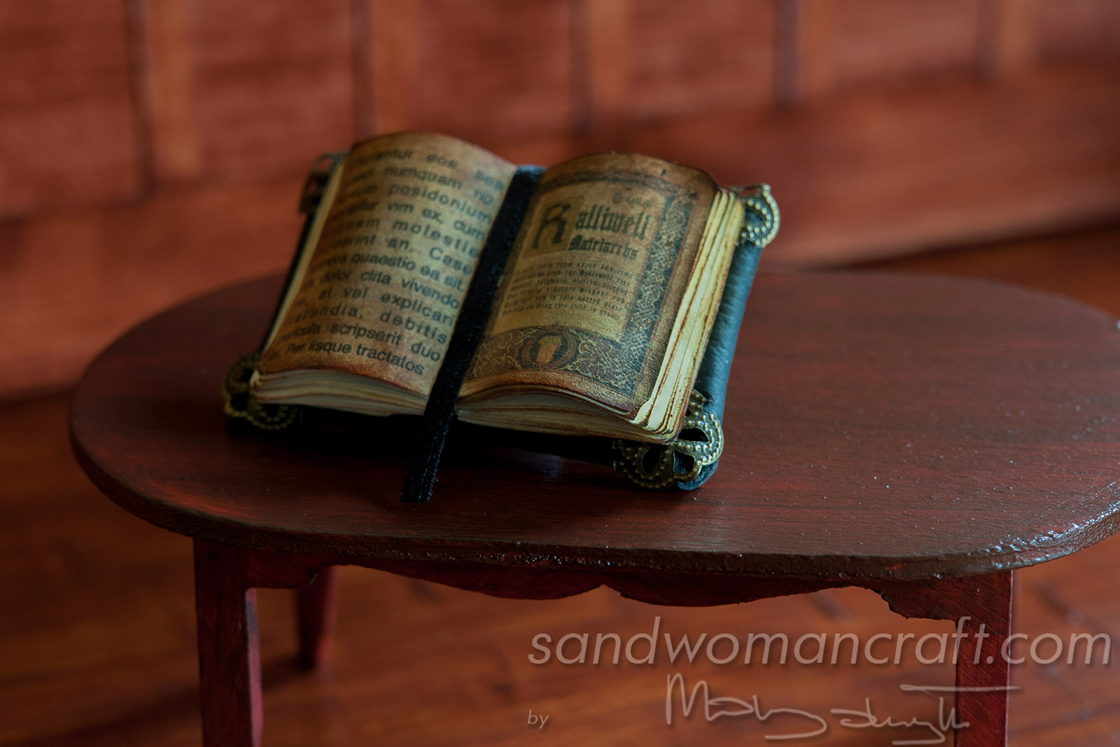 Miniature old leather mysterious book