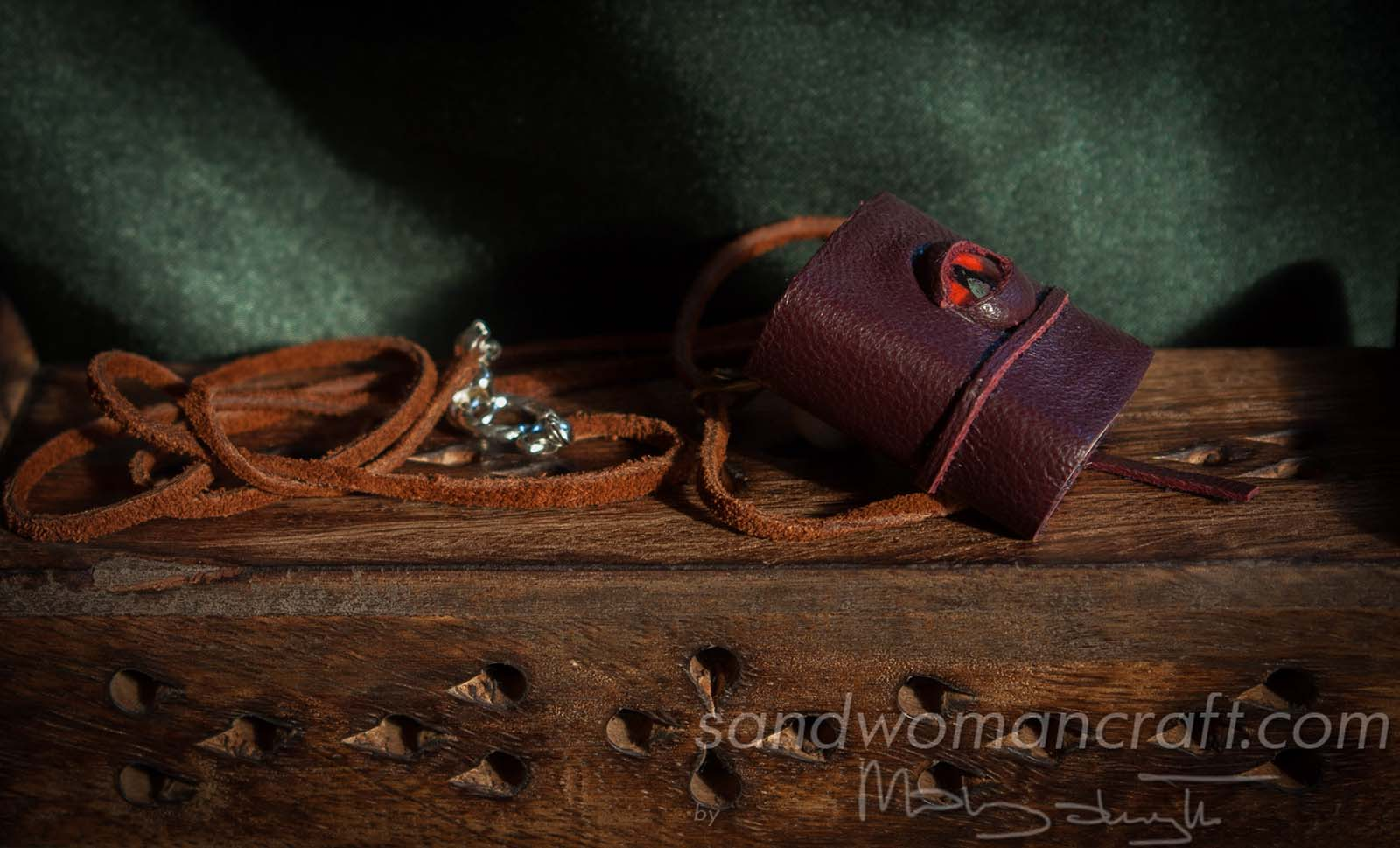 Miniature leather book necklace with real medieval theme book inside