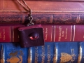 Miniature leather book necklace with Dragon's Eye