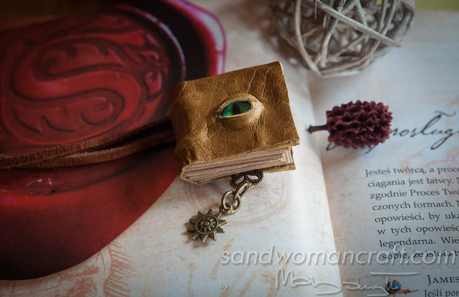 Miniature leather book necklace with glass Dragon's eye