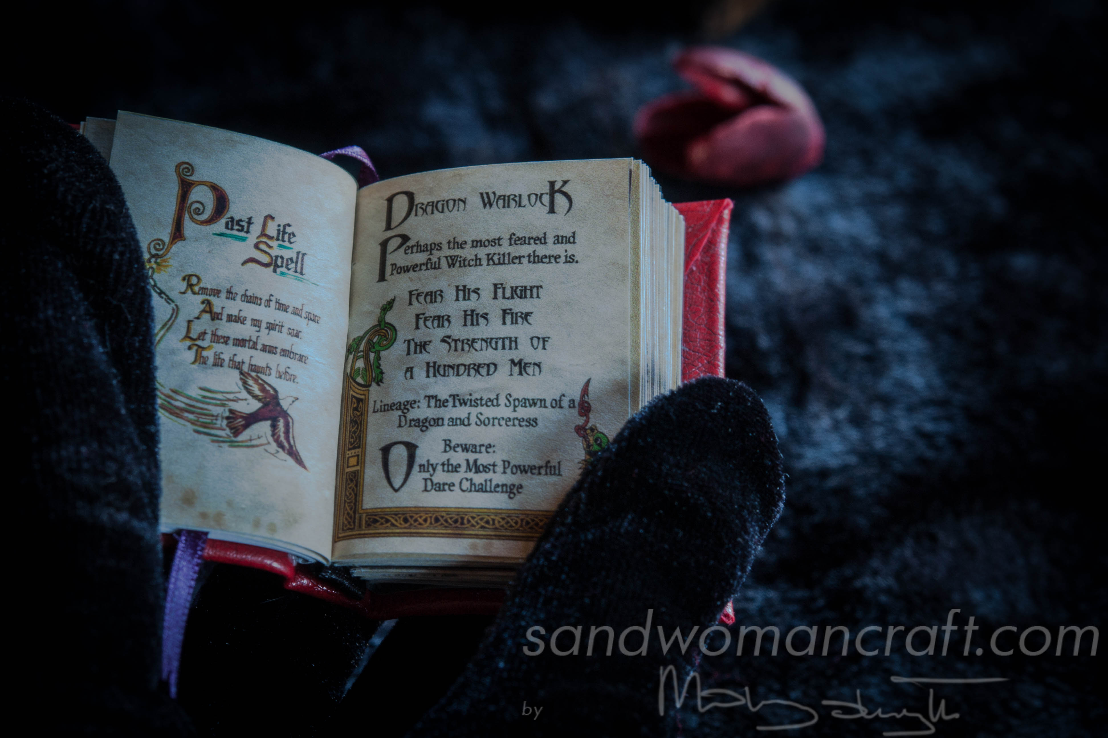 """Dark arts"" miniature leather book"