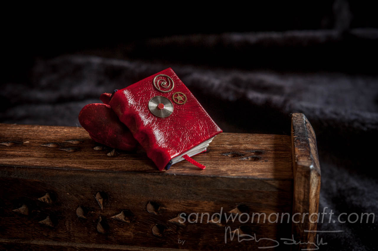 Red leather miniature steampunk book