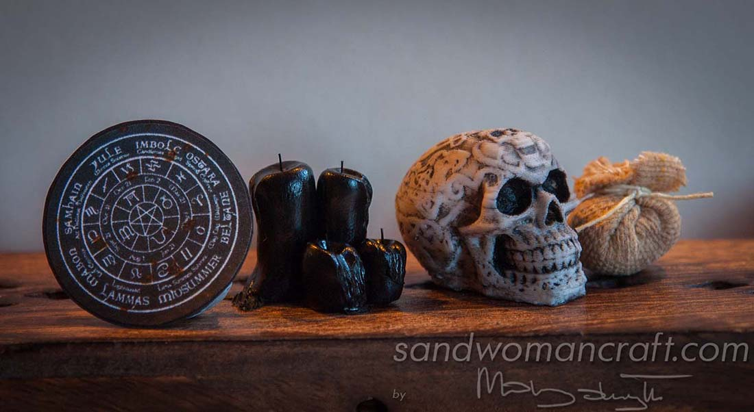 Miniature celtic skull, black candles, wheel of the year, pouch