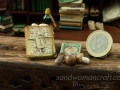 Miniature book and aged papers, mushrooms set. Dollhouse miniatures in 1/12 scale