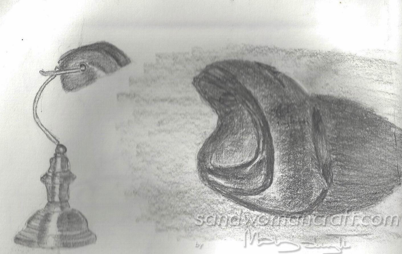 Lamp and sketchbook doodles