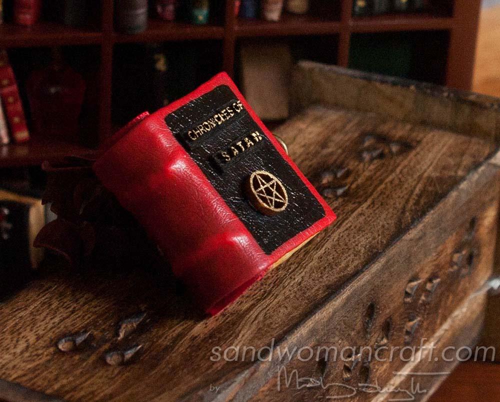 "Miniature leather book ""Chronicles of Satan"""