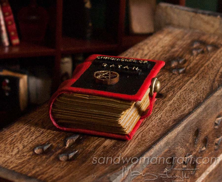 "Miniature leather book ""Chronicles of Satan"""