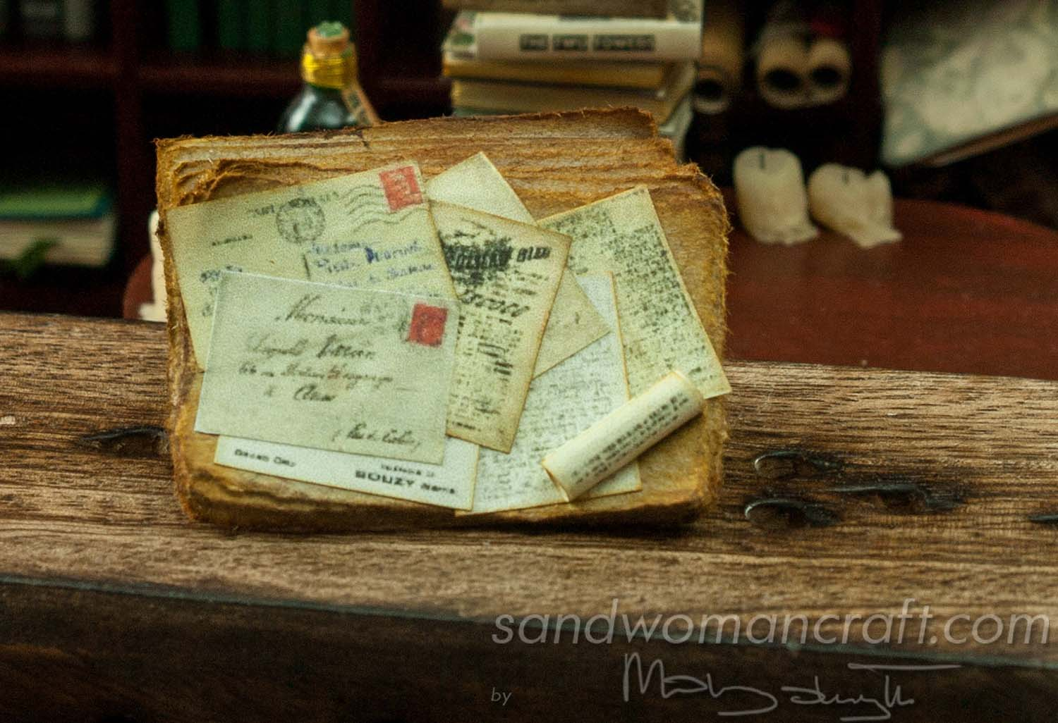 Miniature old letters and papers