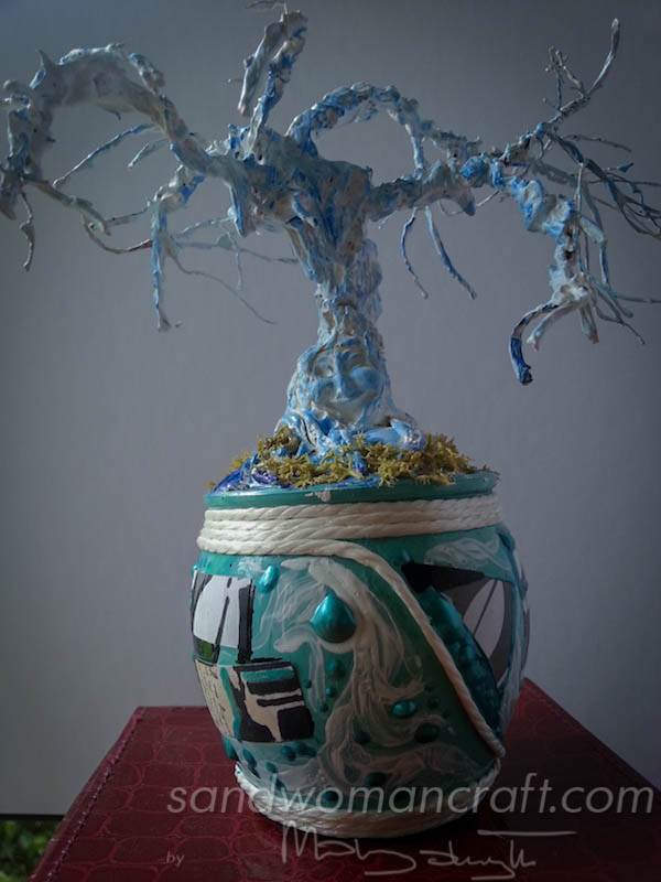 Mixed media tree sculpture