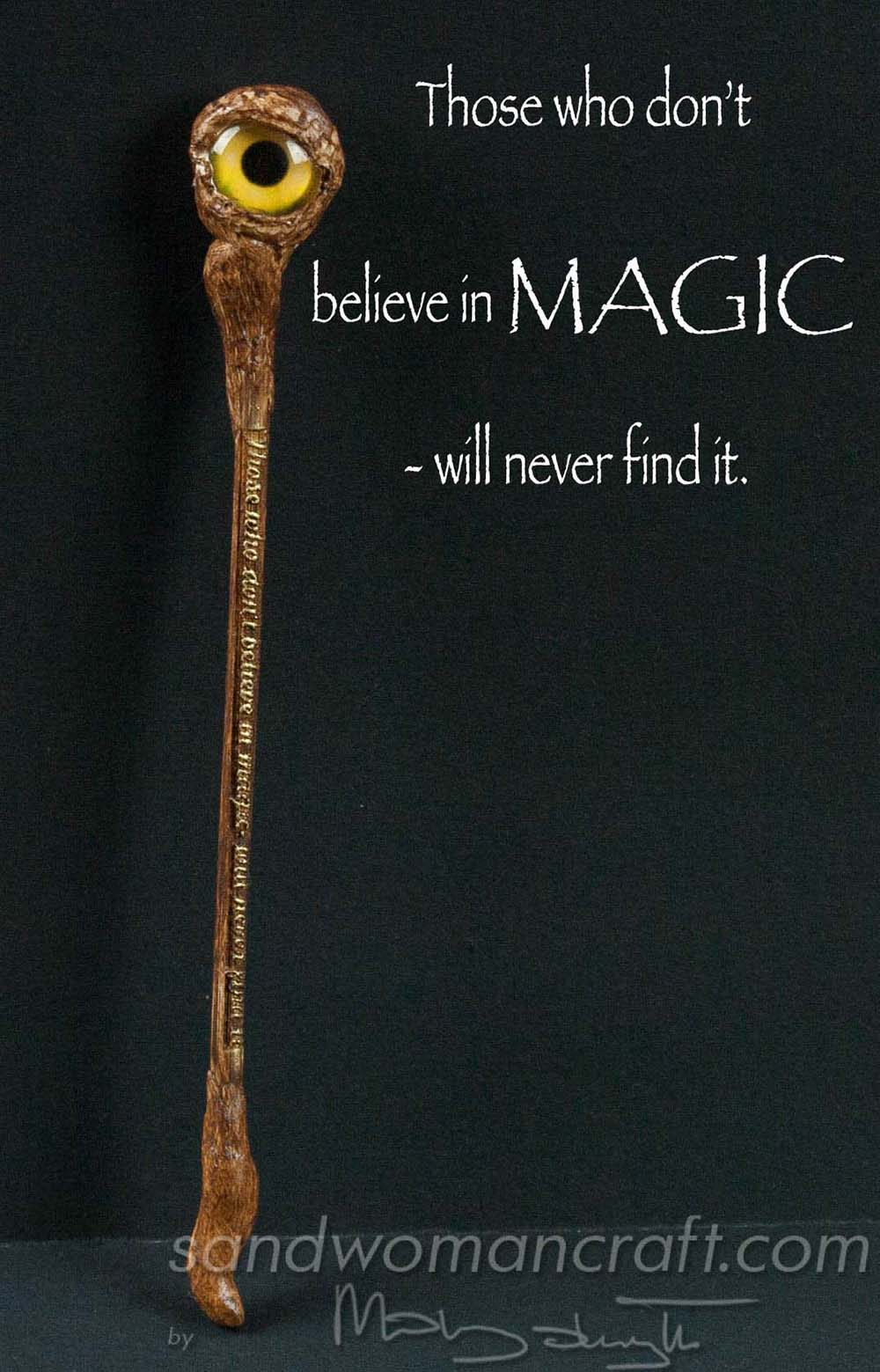 Miniature magic walking stick with glass eye