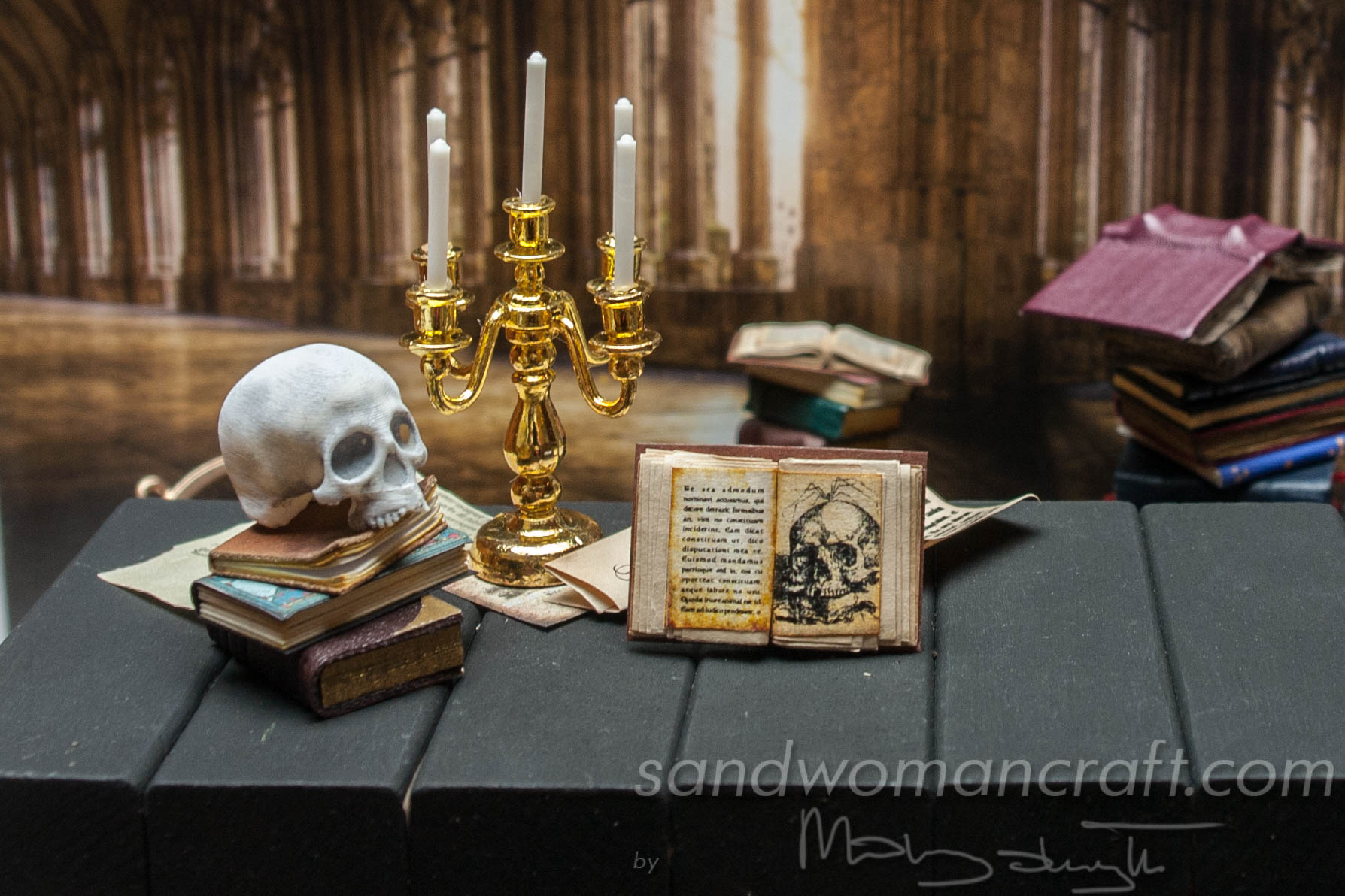 Miniature open book with skull