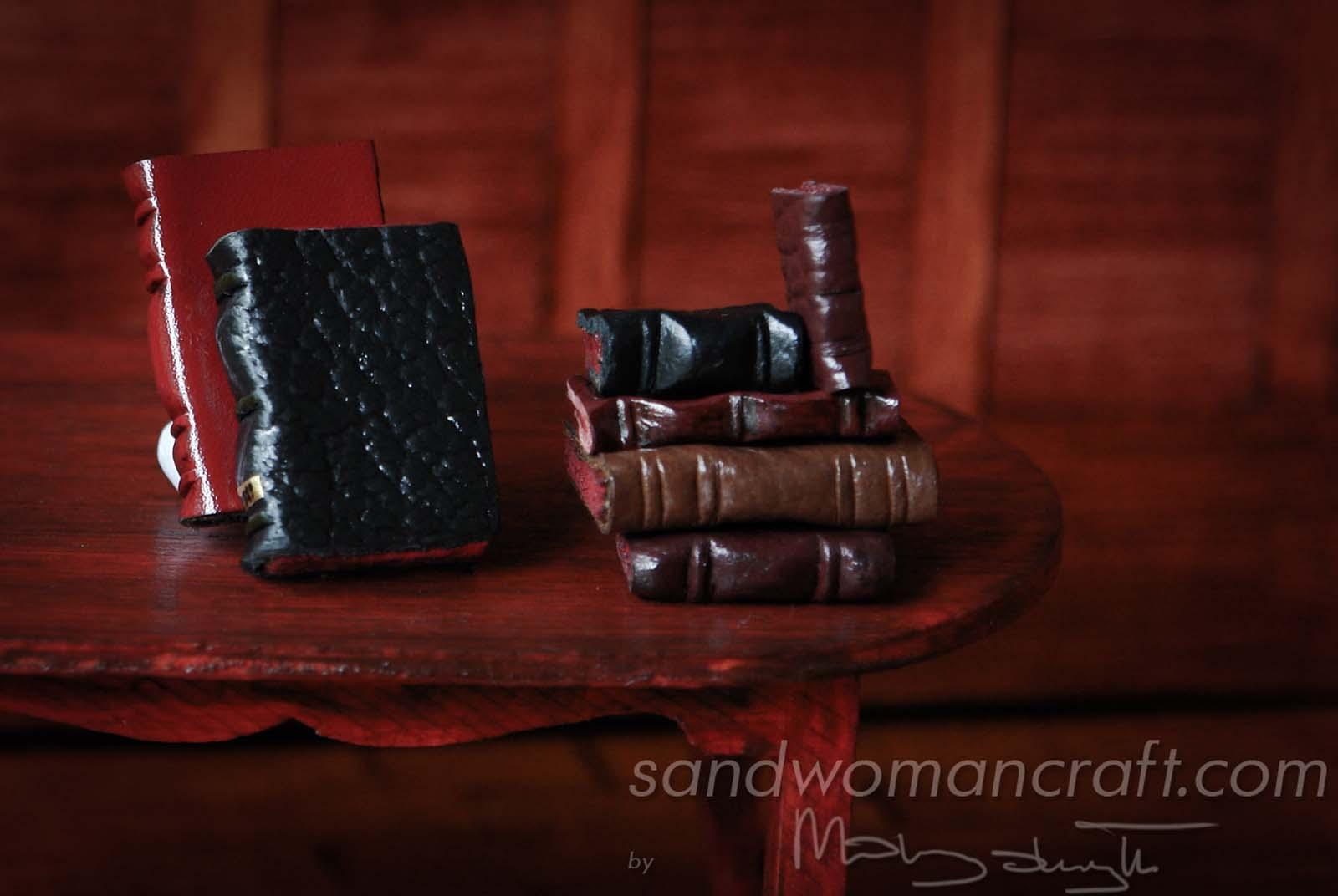 Miniature leather books 1:12 scale