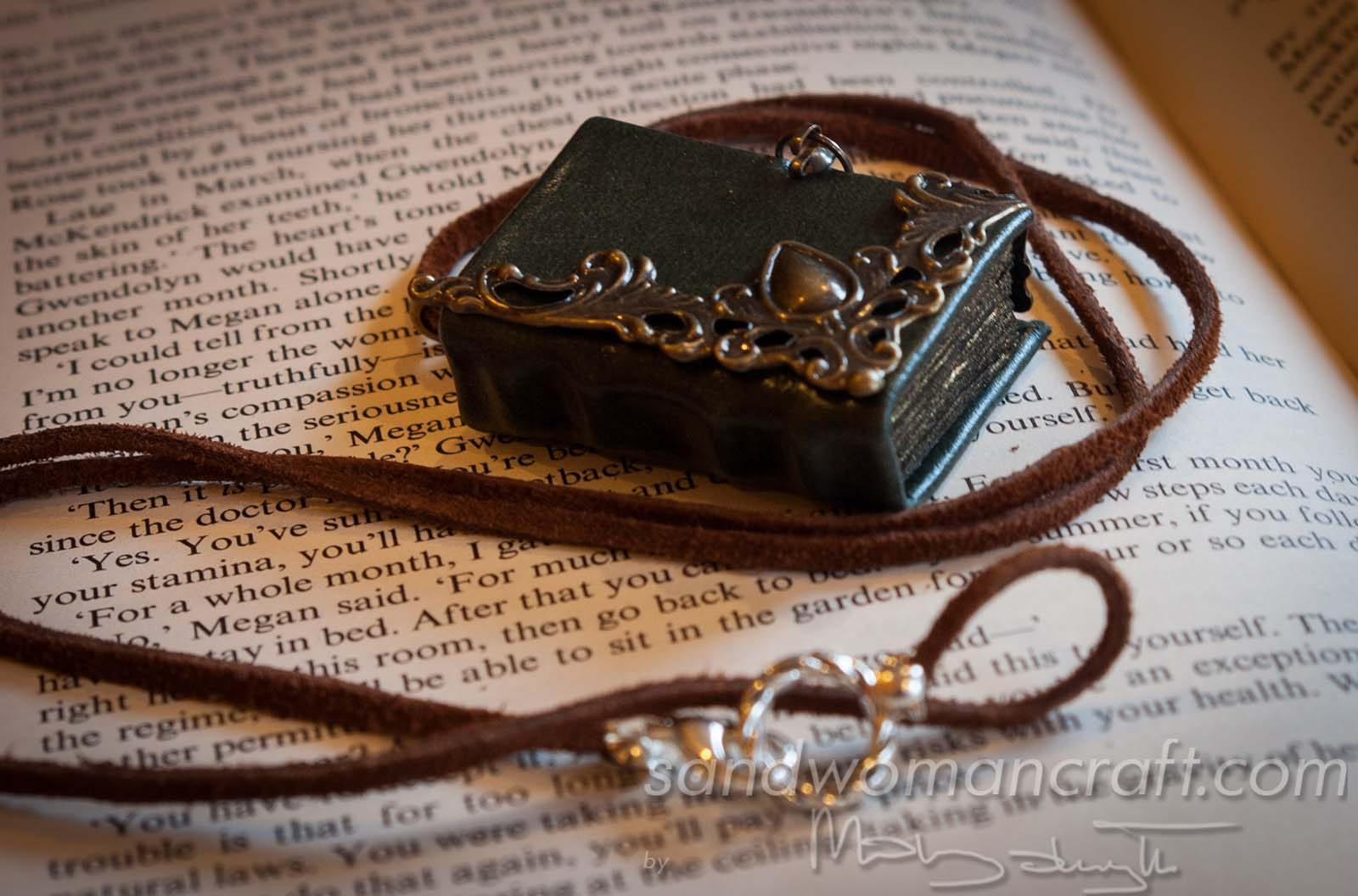 Miniature leather book necklace