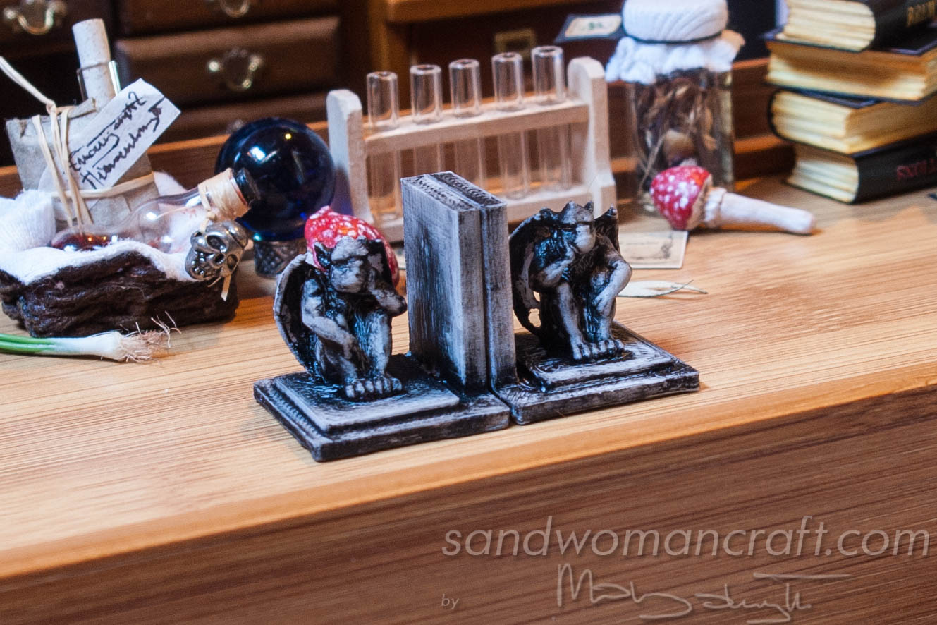 Miniature bookends with Gargoyle