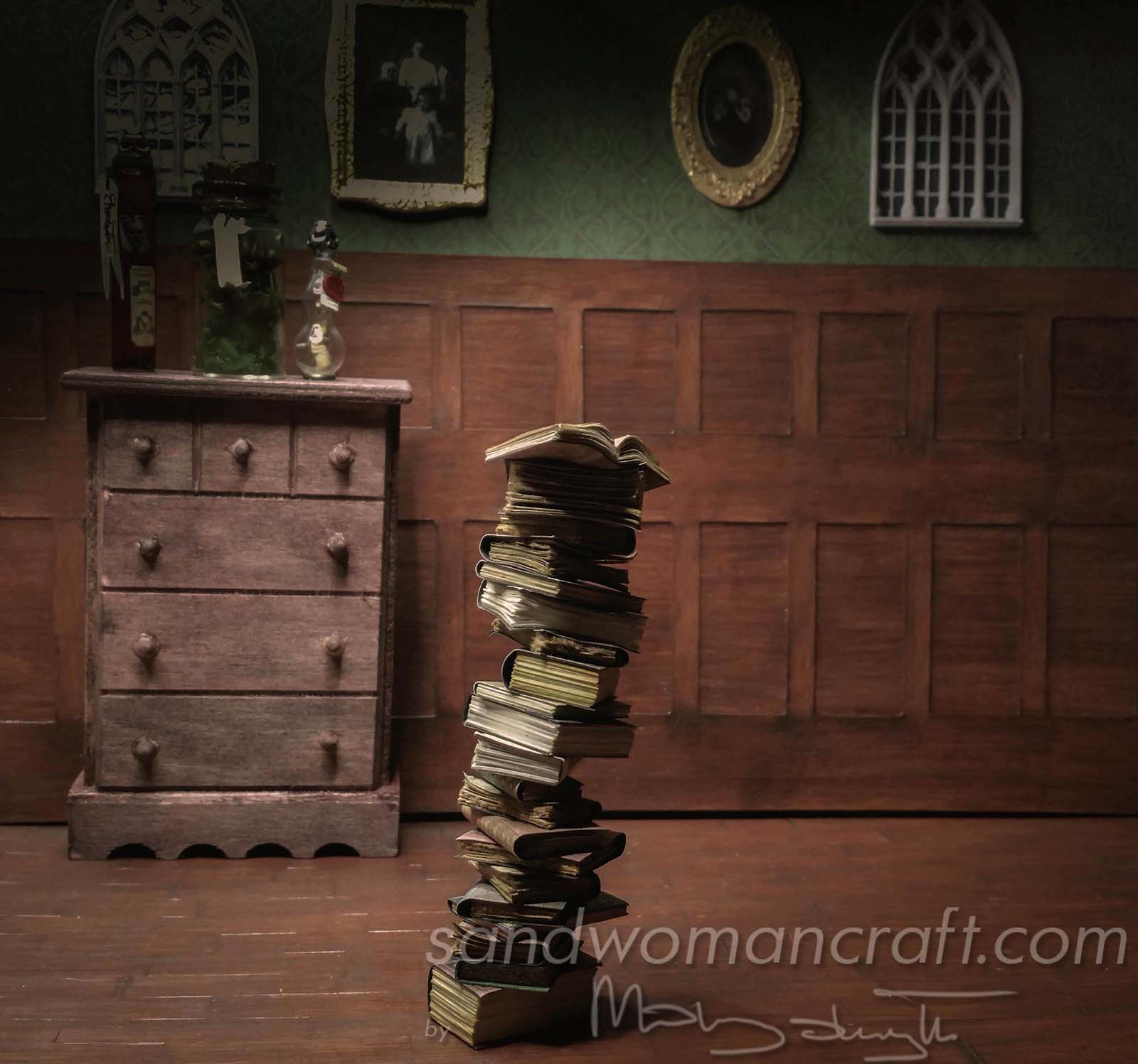Gothic miniature book stack in 1:12 scale