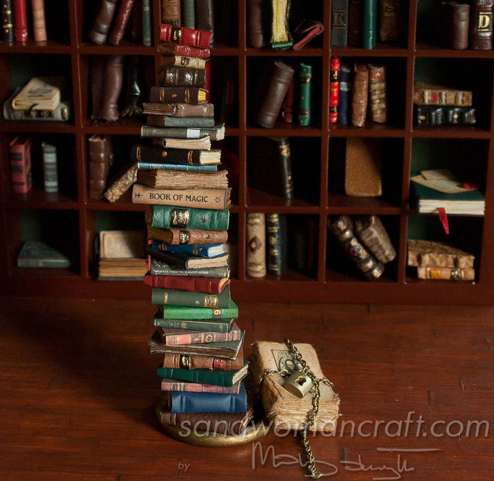 Miniature book stack 1:12 scale