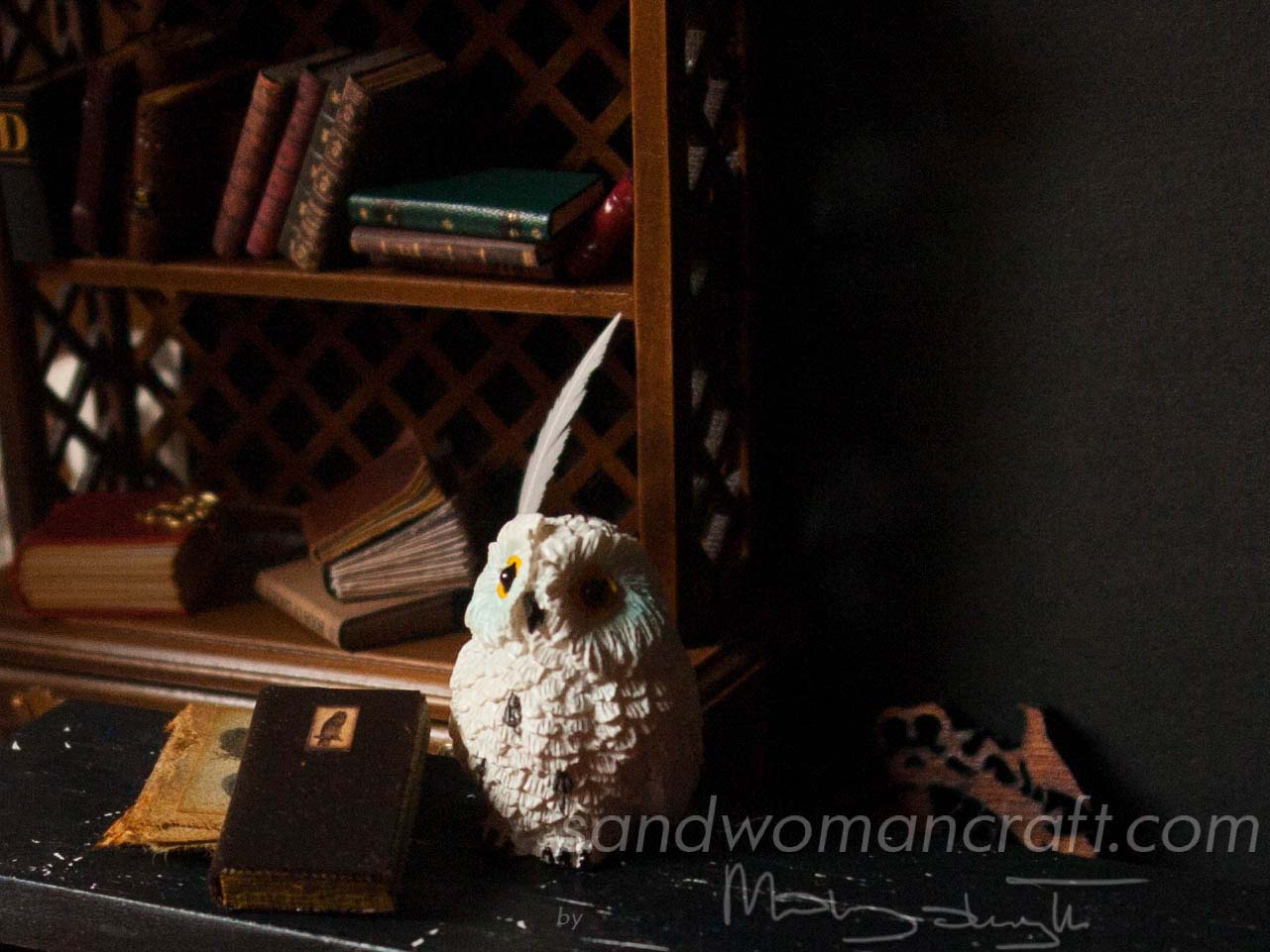 Miniature leather book with Owl in 1:12 scale