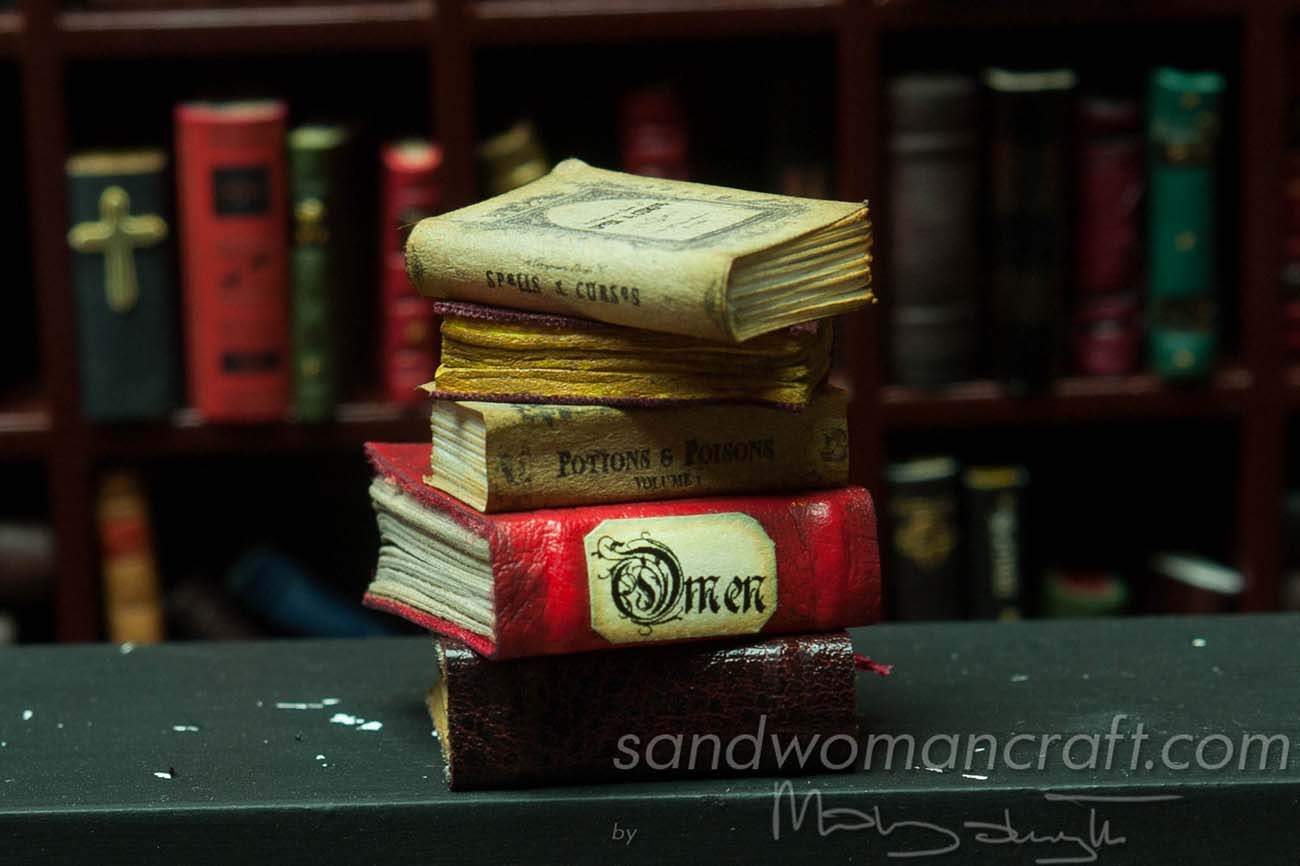 Miniature book stack Omen