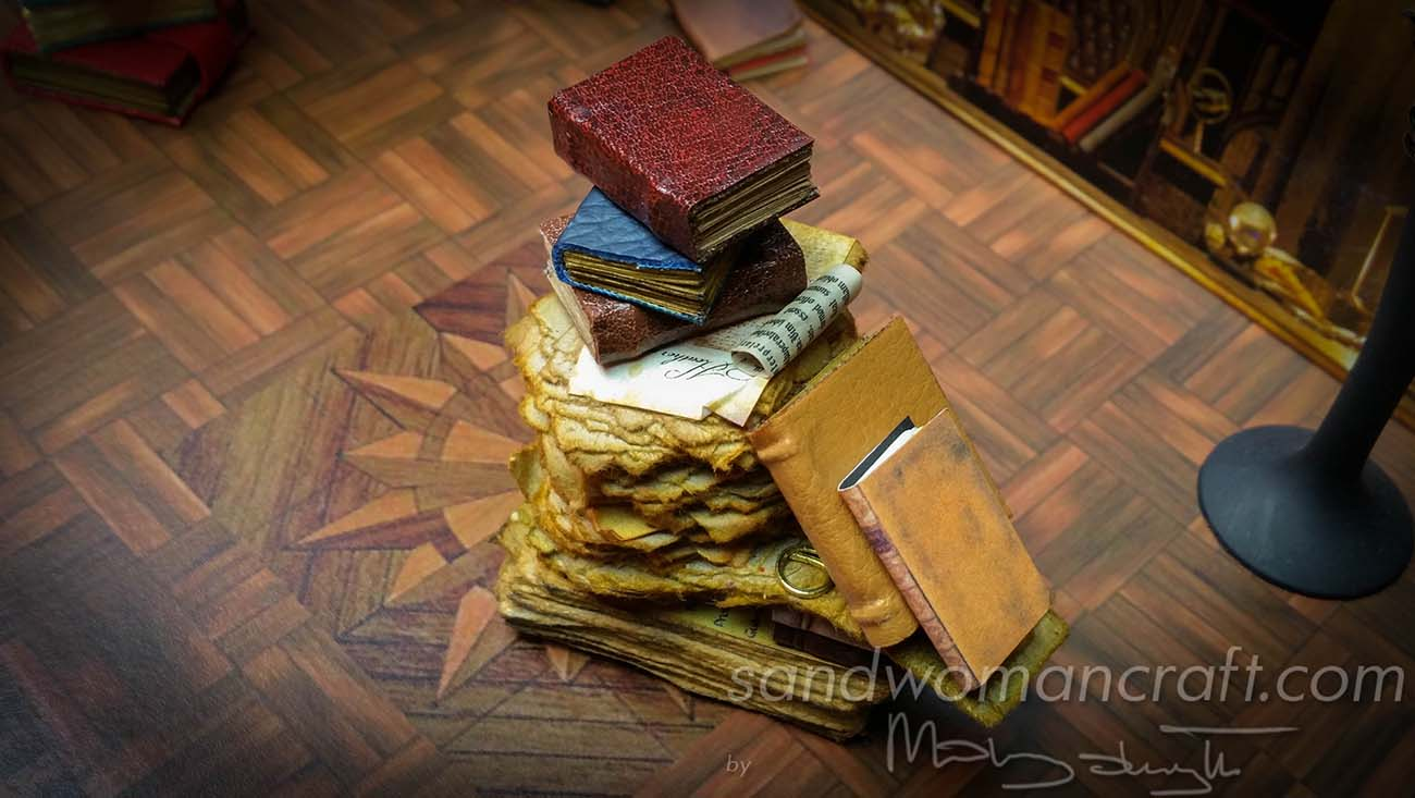 Miniature mixed media stack with books