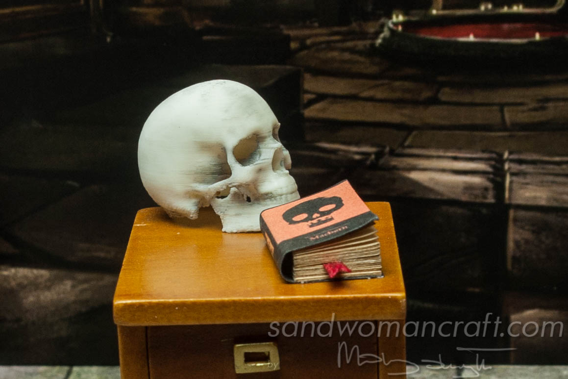 Miniature book Macbeth. Shakespeare's play in small scale.
